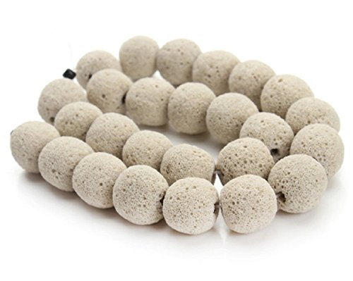 Pearl Purple Jade Necklace (Mega Shop Lava Beads Rock Stone Size Round 8 mm with 10 mm 40 cm Strand For Diy Jewelry Making Volcanic Stones Beaded Essential Oil Beadnova (White Pearl))