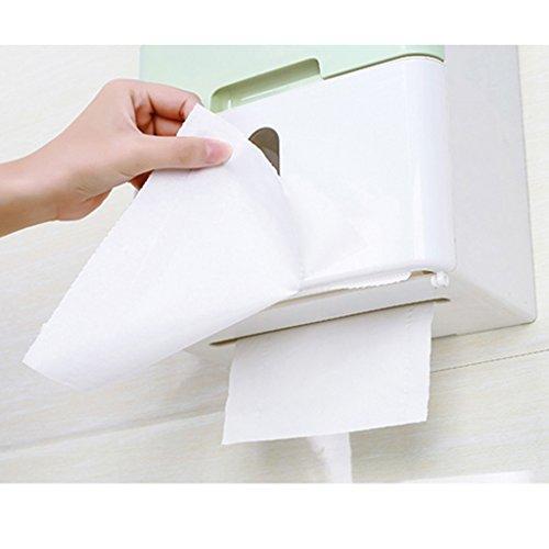 Li Ye Feng Shop Einstöckiges Badezimmerregal Lochpapiertrommel wasserdichter Papierpapierhalter Badezimmertoilettenbehälter Restaurantküche Toilettenpapierhalter (Color : Green, Size : 21.5*13*14) Green