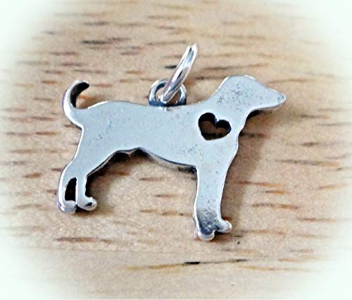 Sterling Silver 16x12mm Love Lab Labrador Retriever Dog with Cut Out Heart Charm Vintage Crafting Pendant Jewelry Making Supplies - DIY for Necklace Bracelet Accessories by CharmingSS