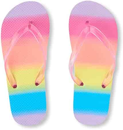 The Children's Place Kids' BG Rnbw FF Flat Sandal