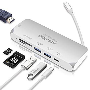 MFY HDMI USB C Hub, ADLOKO 6 en 1 Adaptador Hub Tipo-C, USB-C Hub