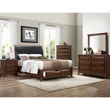 Homelegance Sunderland 5 Piece Storage Sleigh Bedroom Set in Medium. King  Queen   Kids Size Bedroom Sets Under  500