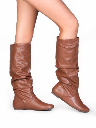 Boots Black HIgh M Leather 6 Knee Zuluu Soda Slouchy Flats Faux Women's US wgRapq