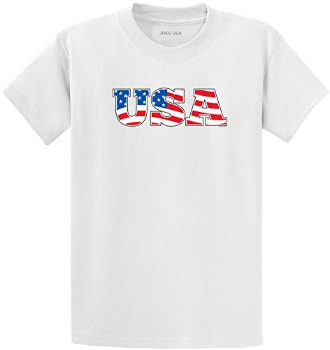 Joe's USA(tm) - Red White & Blue USA Flag Logo T-Shirt-White/c-2XL