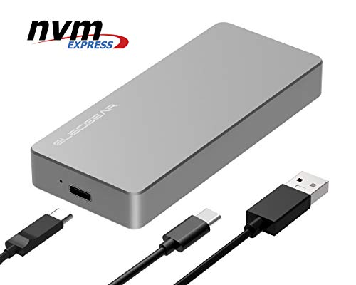 NVMe PCIe M.2 SSD to USB 3.1 Gen2 Enclosure - ElecGear NV-C01 External Aluminum Cooling Case, 10Gbps 2280 PCI-E M2 M-Key NGFF HDD Card Reader Adapter, NVMe Caddy Hard Drive Box, USB Type A and C Cable