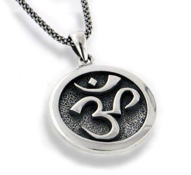 Amazon om aum hindu or yoga symbol antiqued sterling silver om aum hindu or yoga symbol antiqued sterling silver medallion pendant 18quot necklace aloadofball Gallery