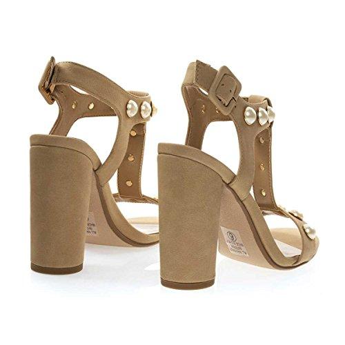 Sandalo Incastonato Di Perle Sul Grosso Tacco Cilindrico Del Blocco, Scarpe Da Festa Per Donna Beige Naturale