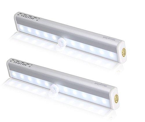2 Stück Morpilot® LED Schrankbeleuchtung Lichtleiste Kabellos 10 LEDs mit Bewegungsmelder BatterieWandschrank Kabinett Nachtlicht / Treppen Licht / Schublade / der Schrank / Stammlampe Step Light Bar mit Magnetstreifen [Energieklasse A++]