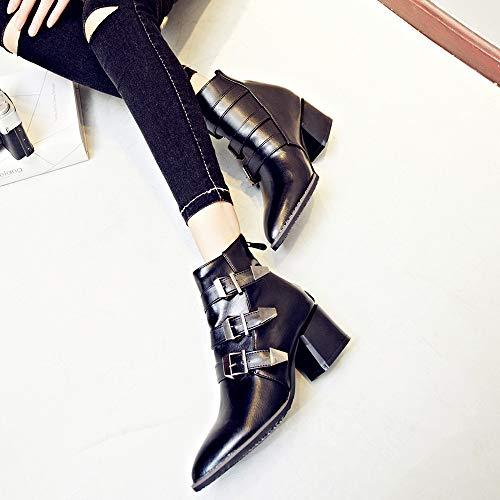 Al Punta A Cerniera Da Caldo scarpe Donna Tenere Di Cinturino Nude Inverno Stivali Alto Sexy Black Tacco Moda Con 16wqBBnz