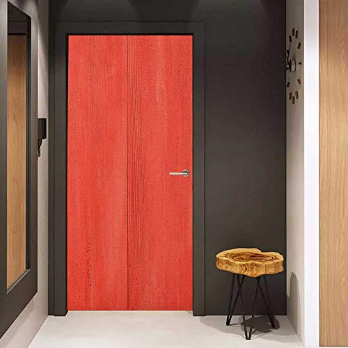 Door Sticker Coral Vintage Wood Board Plank Texture Image Aged Barn Door Lumber Grunge Natural Surface Glass Film for Home Office W23 x H70 Dark Coral
