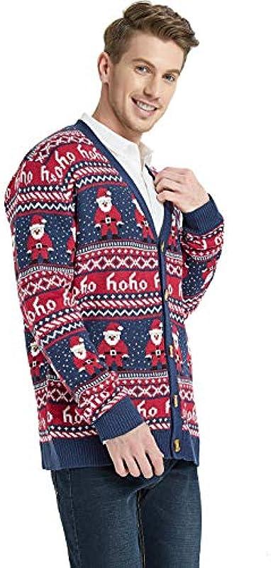*Daisysboutique* męska kurtka z dzianiny rudolph-ren-feiertags cardigan miły brzydki sweter x-duży sankt-print-dziergana kurtka: Odzież