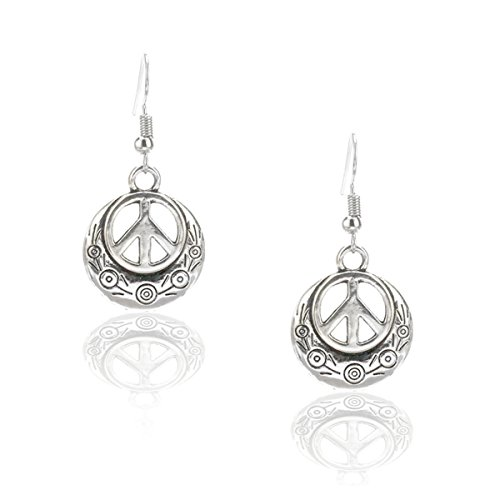 Engraved Silver Peace Sign Drop Earrings