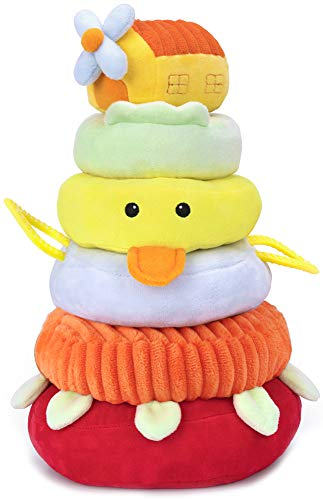 iPlay, iLearn Soft Plush Baby Toys, Safe First Stacking Rings, Sounds n Textures, Easy Grip Shaker, Learning Biting Gifts for 3, 6, 9, 12, 18 Months 1 Year Olds Newborn Infants Toddlers Kids Boy Girls from iPlay, iLearn