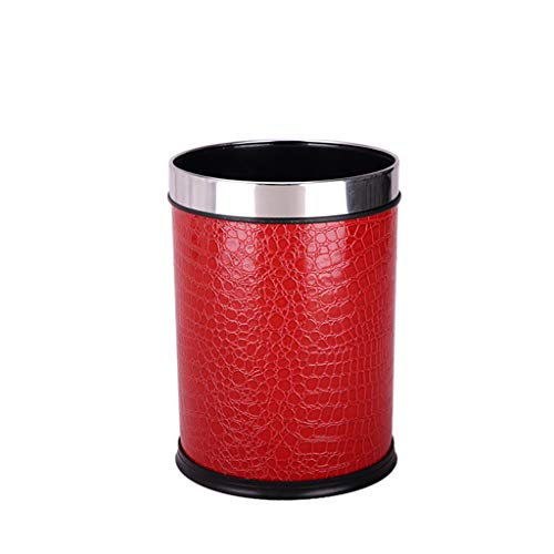 Large Uncovered Ring Trash Can Hotel Living Room Office Household Trash Can Gold Satin/wallpaper Series (PATTERN : F)