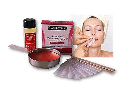 Wax Enthaarung Heim Set für die Haarentfernung Gesicht, Intim Warmwachs Pfännchen für Herdplatte Waxingset
