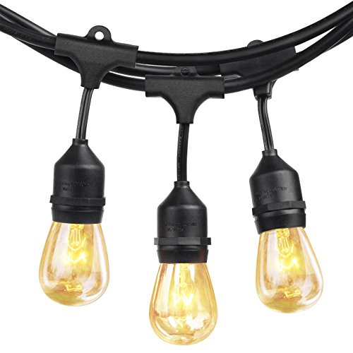 SHINE HAI 48-Foot with 24 Hanging Sockets Weatherproof Outdoor String Lights - Commercial Grade - Perfect Patio Lights & Party Lights-Black- 26 11S14 Incandescent Bulbs Included