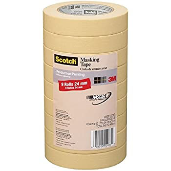 Scotch Masking Tape for Production Painting, 0.94-Inch by 60.1-Yard, 9-Pack