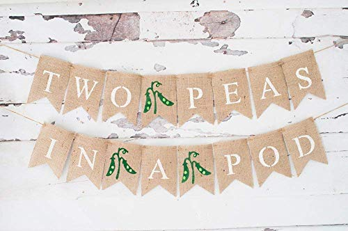 Two Peas In A Pod Banner for Twin Baby Shower or Gender Reveal Party Décor ()