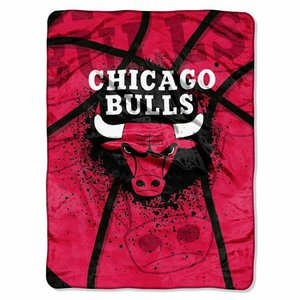Officially Licensed NBA Chicago Bulls Shadow Play Plush Raschel Throw Blanket, 60