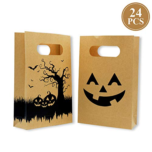 Halloween Treat Bag Tags (Halloween Kraft Candy Bags with Handled,Friday Night CraftTreat Bags for Kids,Halloween Party(24)