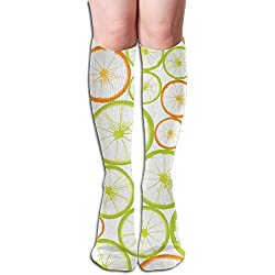 Women Sexy High Knee Long Socks Cushion Outdoor Hiking Walking Stocking Fruit Slices Powerpoint Template Over Calf Casual Sport Stocking Cotton