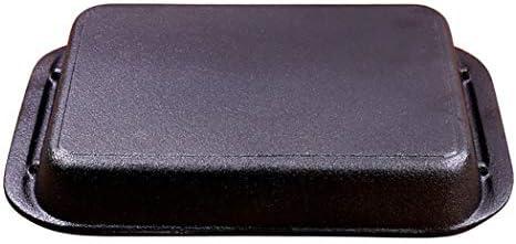 LIXINGER Plat rectangulaire en fonte émaillée noire pour barbecue, fromage, fromage occidental (taille : 30 cm de long x 20,1 cm de large x 5,1 cm de haut)