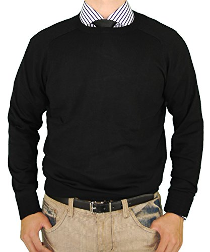 LN LUCIANO NATAZZI Classic Fit Crew Neck Premium Cotton Sweater Cashmere Touch (XX-Large, Black)