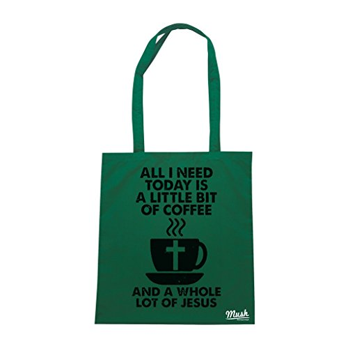 Borsa COFFEE JESUS - Verde Bottiglia - DIVERTENTE by Mush Dress Your Style