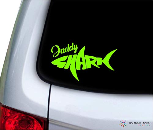 (Shark Outline Text Daddy Shark 7x3.7 Size inches doo doo doo Bumper Sticker Love Baby Laptop car Window Truck - Made and Shipped in USA (Lime Green))