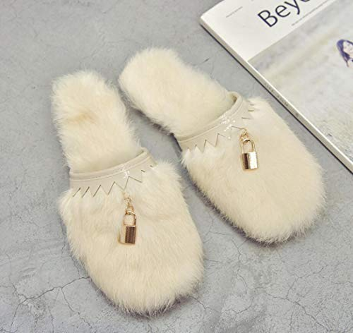 Beige Soft Shoes Flat Slippers Winter Closed Heel DANDANJIE Autumn Plush Women's Toe Fashion 4wYxRUSB7q