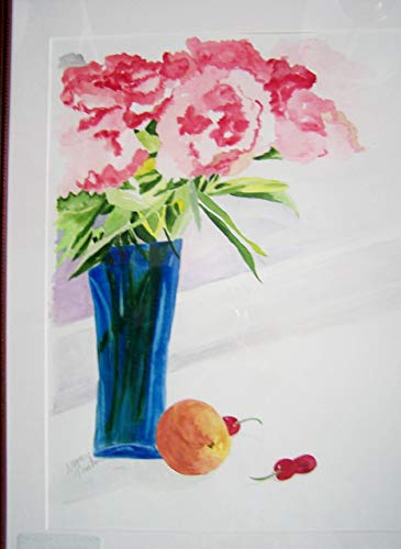Original Watercolor Painting Pink Peonies in Glass Vase, Floral Painting, Home Decor, Wall Art, 22 inches x 26 inches, by Artist, Nancy M. Trombino ()