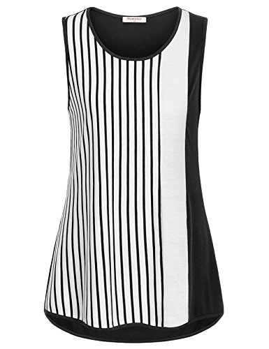 Nomorer Sleeveless Tops for Women, Hi Low Casual Striped Blouse Top Scoop Neck Tank Top for Summer (Black, X-Large) - Stripe Cotton Top Blouse
