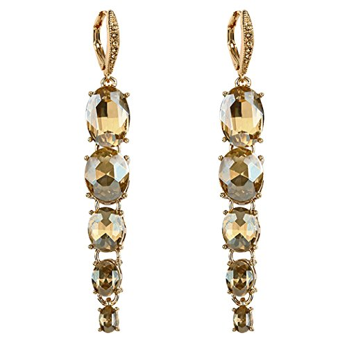 Rosemarie Collections Women's Graduated Oval Glass Stone Dangle Statement Earrings (Gold Tone/Champagne) (Champagne Glass Earrings)