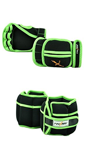 MaxxMMA 5 lbs Adjustable Ankle Weights Pair + 2 lbs Weighted Gloves (Black) by MaxxMMA