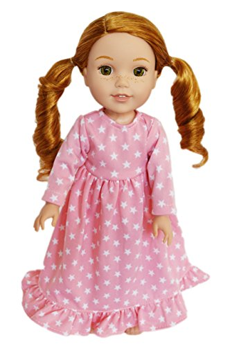 Brittany's My Pink Star Nightgown Compatible with 14.5 Inch Wellie Wisher Dolls, Glitter Girls Dolls, Hearts for Hearts Dolls- Doll Clothes for 14 Inch Wellie Wisher -