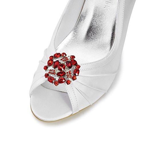 ElegantPark AM Mujer's Cristales Embragues Vestido Sombrero Zapato Clips 2 Pcs Rojo