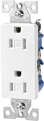 Wiring Electrical Outlets (Eaton TR1107W Tamper Resistant Decorator Duplex Receptacle with 15-Amp, 125-Volt, NEMA 5-15,)