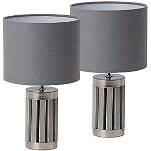 BRUBAKER – Lampe de table/de chevet – Lot de 2 – Design moderne – Hauteur 33 cm – Pied en Bois & Métal/Gris – Abat-jour…