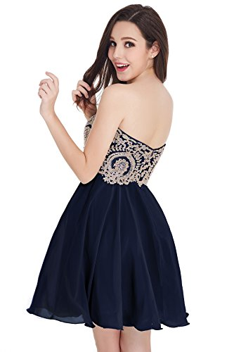 Babyonlinedress Vestido corto de fiesta para bodas vestido de chiffón estilo elegante trapecio y A line cuello de corazón sin mangas espalda de cierre azul marino
