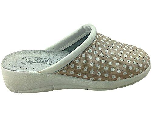 Foster Footwear - Sandalias con cuña mujer Beige/Polka Dot