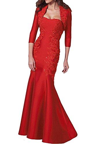 La_Marie Braut Damen Spitze Langes Abendkleider Brautmutterkleider Partykleider Etuikleider mit Jaket Rot l3MVhq7gO