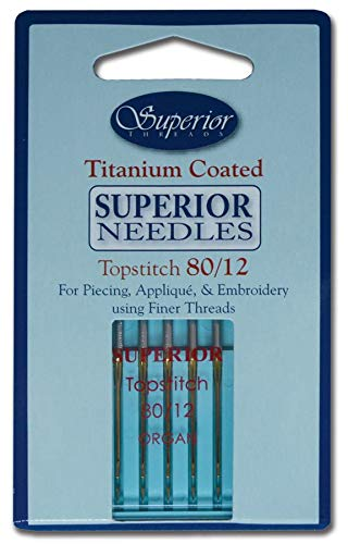 Superior Threads #80/12 Topstitch Titanium Coated Sewing Needles for Piecing, Applique and Embroidery, 5 Pack