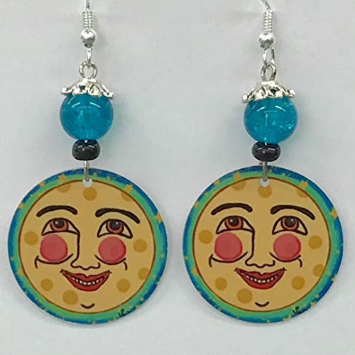Man in the Moon Earrings, Celestial Earrings, Sterling Silver Ear Wires, Crystal Earrings Lightweight from Original Art, Handmade in America Make a Statement