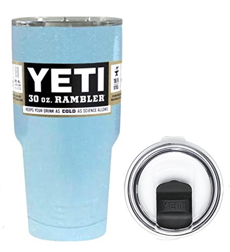 YETI Coolers 30 Ounce (30oz) (30 oz) Custom Powder Coated or Hydro Dipped Rambler Tumbler Cup Travel Mug Bundle with New Magslider Lid (Light Blue Glitter Sparkle)
