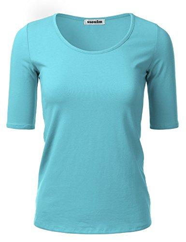 Top 1/2 Sleeve (SSOULM Women's 1/2 Sleeve Crewneck Cotton Basic Slim Fit T-Shirt Top Aqua 1XL)