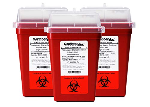 OakRidge Products 1 Quart Size (Pack of 3) Sharps Disposal Container FDA Approved for use at Home