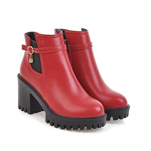 Toe Zipper Platform Womens Solid Heel Red BalaMasa Boots Round Mid ABL09642 Urethane wC0q6q7