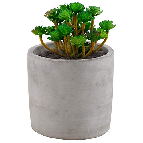 Miniature 4-Inch Round Flower Plant Clay Planter Pot, Gray -