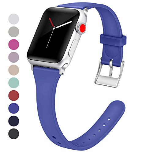 (HAYUL Sport Band Compatible with Apple Watch Bands 38mm 40mm 42mm 44mm, Slim Soft Silicone Replacement Wrist Strap Compatible for Iwatch Series 4/3/2/1 (Royal Blue, 42mm/44mm))