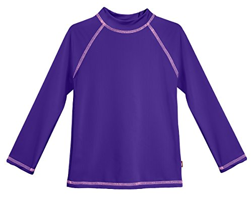 City Threads LS Baby Girls' Rashguard Swimming Suit Swim Tshirt Tee UPF50+ Sun Protection for Beach Pool Summer Fun, LS Purple/Pink, 6-9m